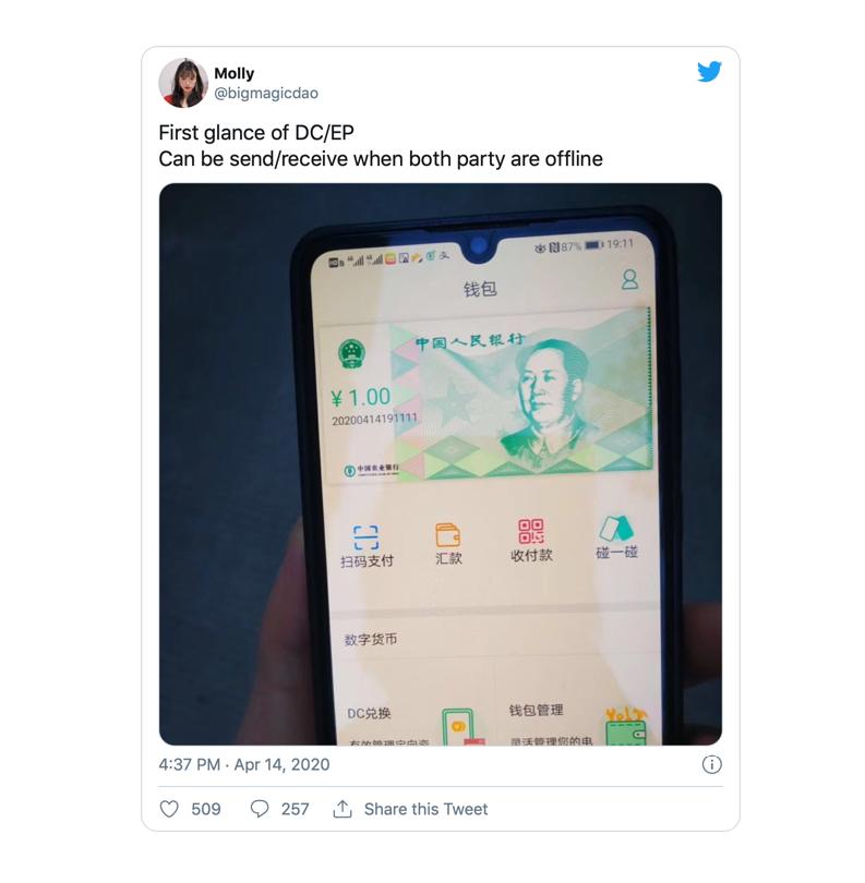 interface présentée par la Banque Agricole de Chine, utilisation crypto yuan